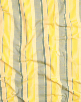 Yellow & Green Stripes Washed Woven Handloom Cotton Fabric - Fabriclore.com