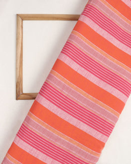 Orange & Pink Stripes Washed Woven Handloom Cotton Fabric - Fabriclore.com