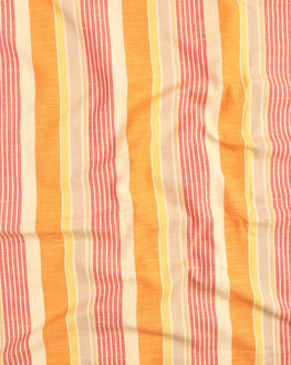 Yellow & Orange Stripes Washed Woven Handloom Cotton Fabric - Fabriclore.com