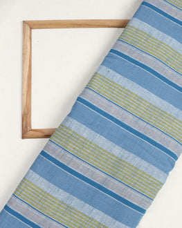 Blue & Green Stripes Washed Woven Handloom Cotton Fabric - Fabriclore.com