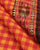 Red & Orange Checks Ikat Border Handloom Cotton Fabric - Fabriclore.com
