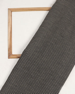 Black & Off-White Stripes Handloom-Textured Cotton Fabric - Fabriclore.com