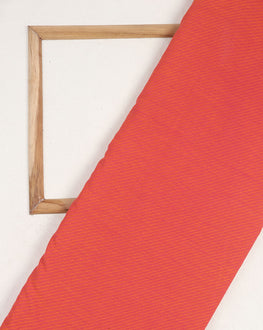 Orange & Salmon Stripes Handloom-Textured Cotton Fabric With Border - Fabriclore.com