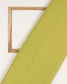 Green & Yellow Stripes Handloom-Textured Cotton Fabric With Border - Fabriclore.com