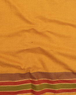 Yellow Stripes Handloom-Textured Cotton Fabric With Border - Fabriclore.com