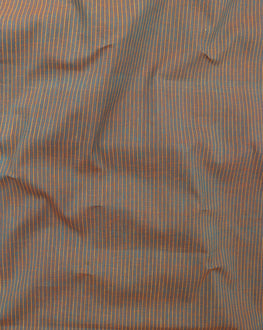 Orange & Teal Stripes Handloom Textured Cotton Fabric - Fabriclore.com