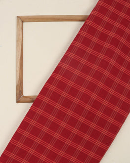Red & Beige Checks Handloom Textured Cotton Fabric - Fabriclore.com