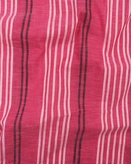 Pink & White Stripes Handloom Textured Cotton Fabric - Fabriclore.com