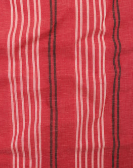 Red & White Stripes Handloom Textured Cotton Fabric - Fabriclore.com
