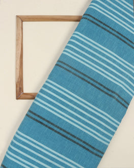 Turquoise & Black Stripes Handloom Textured Cotton Fabric - Fabriclore.com