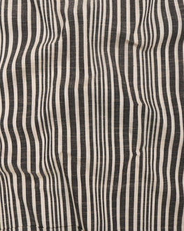 Off-White & Black Stripes Handloom Textured Cotton Fabric - Fabriclore.com