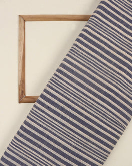 Off-White & Blue Stripes Handloom Textured Cotton Fabric - Fabriclore.com
