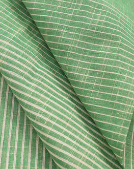 Green & Off-White Stripes Handloom Textured Cotton Fabric - Fabriclore.com