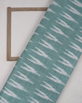 Turquoise & White Woven Ikat Cotton Fabric - Fabriclore.com