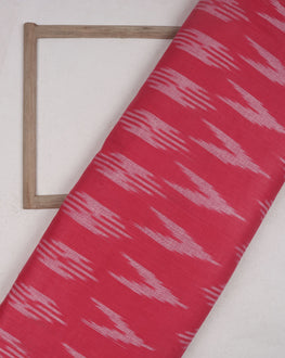 Salmon & White Woven Ikat Cotton Fabric - Fabriclore.com