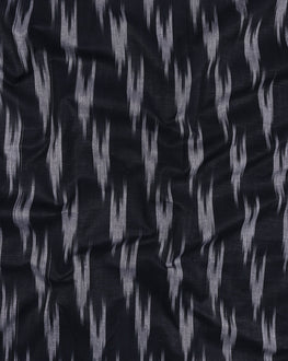 Navy Blue & White Woven Ikat Cotton Fabric - Fabriclore.com