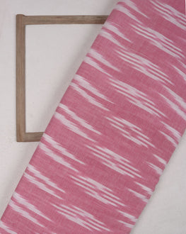 Pink & White Woven Ikat Cotton Fabric - Fabriclore.com