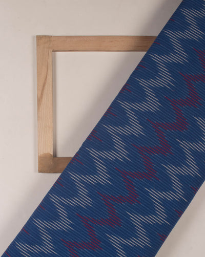 Blue Chevron Woven Washed Ikat Cotton Fabric - Fabriclore.com