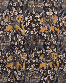 Black & Grey Animal Kalamkari Cotton Fabric - Fabriclore.com
