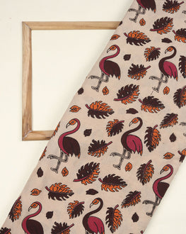 Off-White & Maroon Animal Kalamkari Screen Print Cotton Fabric - Fabriclore.com