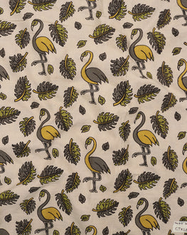 Off-White & Green Animal Kalamkari Screen Print Cotton Fabric - Fabriclore.com