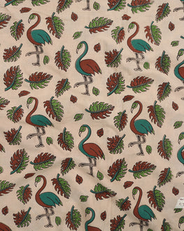 Off-White & Brown Animal Kalamkari Screen Print Cotton Fabric - Fabriclore.com