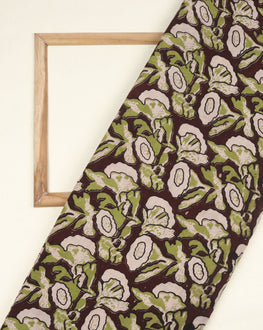 Off-White & Green Floral Kalamkari Screen Print Cotton Fabric - Fabriclore.com