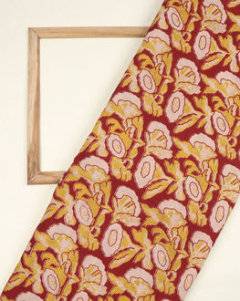 Red & Off-White Floral Kalamkari Screen Print Cotton Fabric - Fabriclore.com