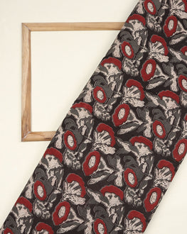 Grey & Red Floral Kalamkari Screen Print Cotton Fabric - Fabriclore.com