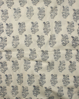 Off-White/Navy Blue Floral Hand Block Cotton Fabric
