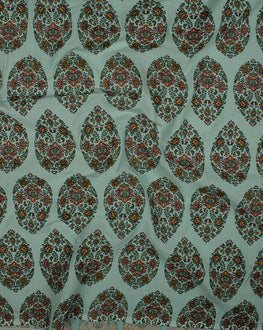 Teal/Yellow Floral Mughal Screen Print Cotton Fabric - Fabriclore.com