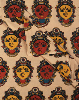 Beige & Orange Objects Screen Print Kalamkari Pattern Cotton Fabric - Fabriclore.com