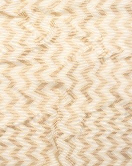 Off-White & Gold Chevron Screen Print Cotton Fabric - Fabriclore.com