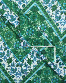 Green & White Floral Screen Print Cotton Fabric - Fabriclore.com