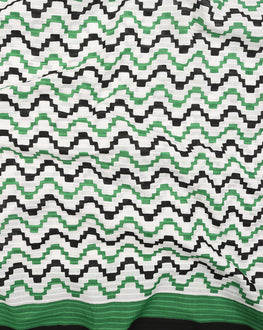 Black & White Chevron Screen Print Cotton Fabric - Fabriclore.com
