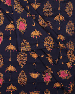 Navy Blue/Yellow Screen Print Objects Cotton Fabric - Fabriclore.com