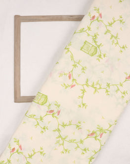 Off-White & Green Floral Screen Print Cotton Fabric - Fabriclore.com