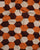 Brown & Orange Geometric Screen Print Cotton Dobby Fabric - Fabriclore.com