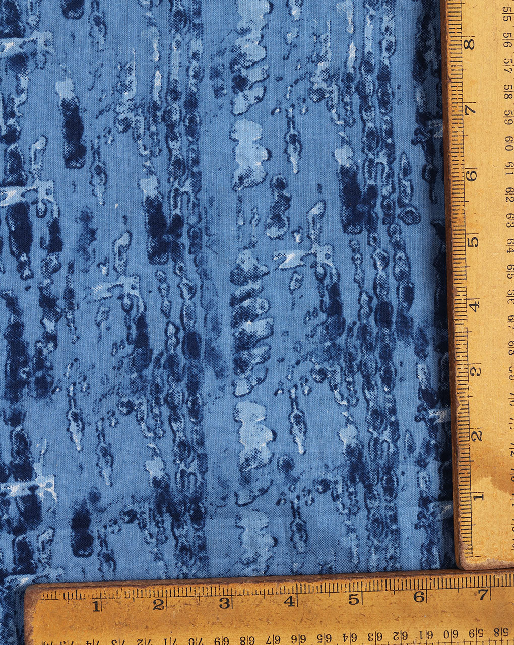Blue Abstract Screen Print Cotton Fabric - Fabriclore.com