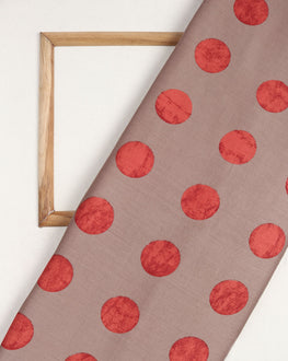 Brown & Salmon Polka Dots Screen Print Glazed Cotton Fabric - Fabriclore.com