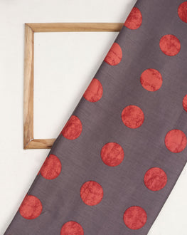 Grey & Salmon Polka Dots Screen Print Glazed Cotton Fabric - Fabriclore.com