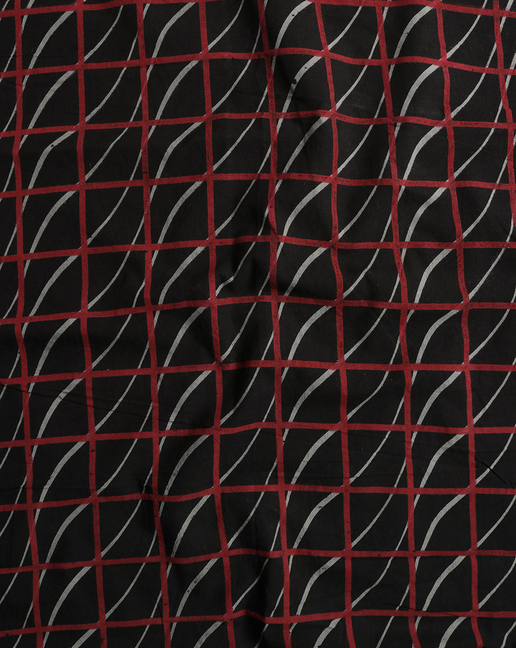 Black & Red Checks Bhuj Screen Print Cotton Fabric - Fabriclore.com