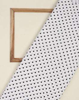 White & Black Polka Dots Screen Print Cotton Fabric ( Width 54 Inch ) - Fabriclore.com