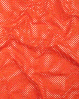 Orange & White Polka Dots Screen Print Cotton Fabric - Fabriclore.com