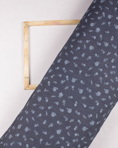 Navy Blue Floral Screen Print Cotton Denim Fabric ( Width 58 Inch ) - Fabriclore.com