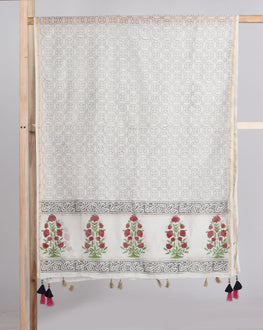 Off-White & Red Floral Mughal  Hand Block Chanderi Silk Dupatta With Zari Border & Tussal - Fabriclore.com