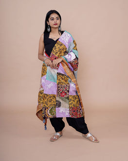 Multi-Color Bengal Kantha Patch Work Cotton Silk Dupatta - Fabriclore.com