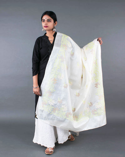 Off-White Green Embroidered Pure Tussar Silk Dupatta - Fabriclore.com