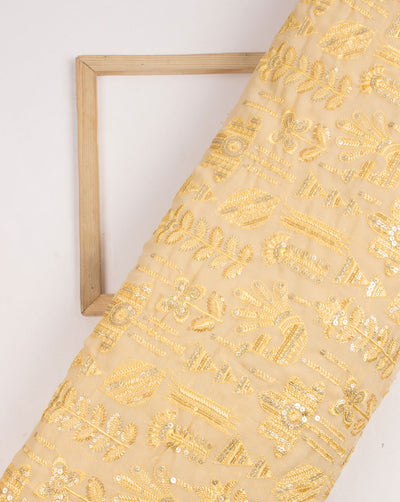 Yellow Gold Floral Pattern Heavy Embroidery Georgette  Fabric - Fabriclore.com