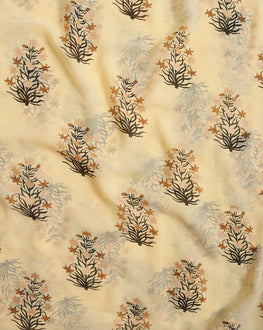 Light Yellow & Black Floral Foil Screen Print  Georgette Fabric - Fabriclore.com